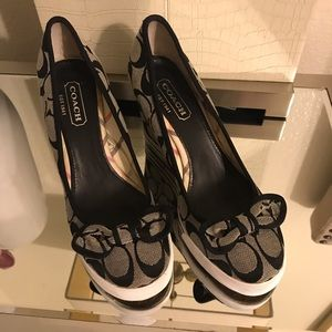 Woman's Coach Sweetie  Black wedges- Size 6
